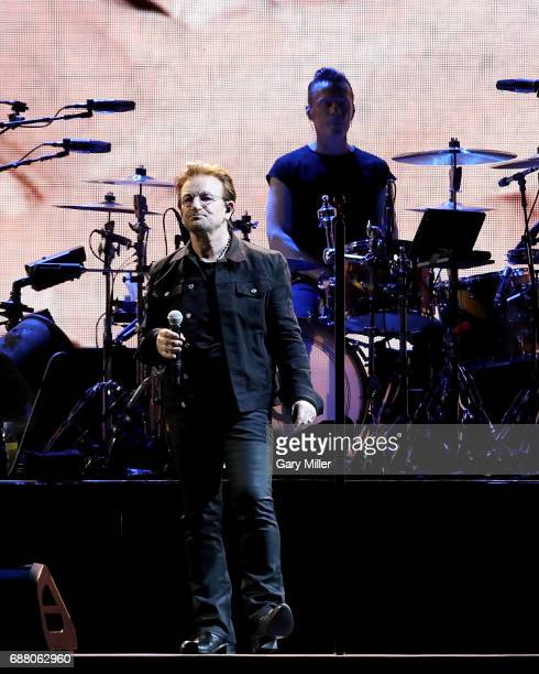 Larry Mullen Jr and Bono of U2 perform on The Joshua Tree Tour at NRG Stadium on May 24 2017 in Houston Texas