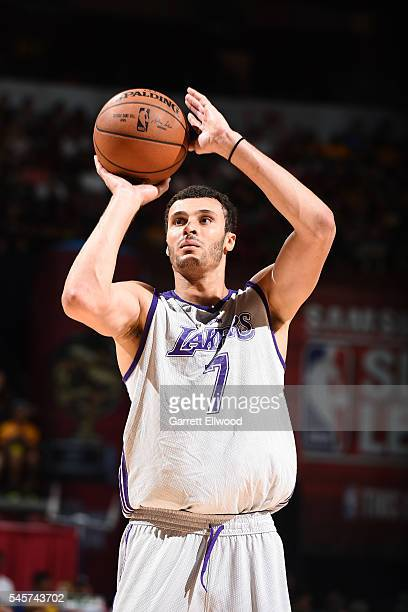 Larry Nance Jr #7 of Los Angeles Lakers shoots a free throw during the game against the Philadelphia 76ers during the 2016 NBA Las Vegas Summer...
