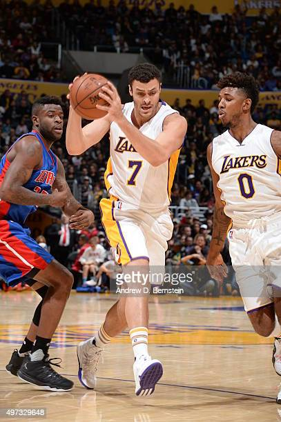 Larry Nance Jr #7 of the Los Angeles Lakers drives to the basket against the Detroit Pistons on November 15 2015 at STAPLES Center in Los Angeles...