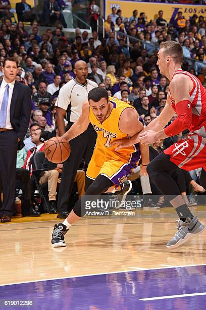 Larry Nance Jr #7 of the Los Angeles Lakers drives to the basket against the Houston Rockets on October 26 2016 at STAPLES Center in Los Angeles...