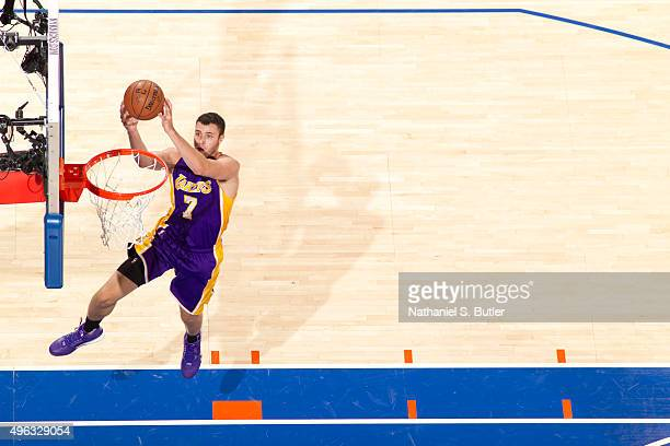 Larry Nance Jr #7 of the Los Angeles Lakers dunks against the New York Knicks during the game on November 8 2015 at Madison Square Garden in New York...