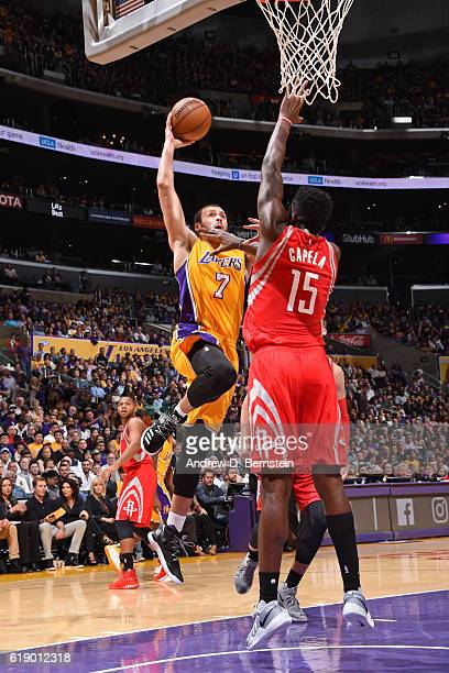 Larry Nance Jr #7 of the Los Angeles Lakers dunks the ball against the Houston Rockets on October 26 2016 at STAPLES Center in Los Angeles California...