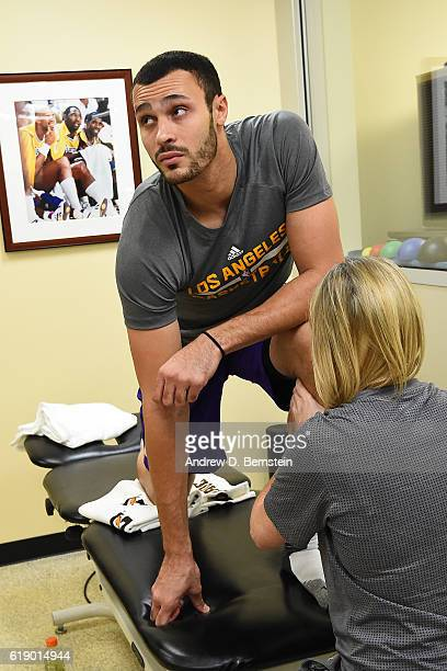 Larry Nance Jr #7 of the Los Angeles Lakers gets treatment before the game against the Houston Rockets on October 26 2016 at STAPLES Center in Los...