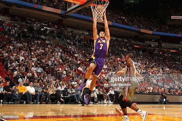 Larry Nance Jr #7 of the Los Angeles Lakers goes to the basket court against the Miami Heat on November 10 2015 at AmericanAirlines Arena in Miami...