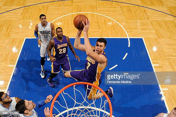 Larry Nance Jr #7 of the Los Angeles Lakers goes up for a dunk against the Orlando Magic on November 11 2015 at Amway Center in Orlando Florida NOTE...