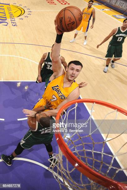 Larry Nance Jr #7 of the Los Angeles Lakers goes up for a dunk against the Milwaukee Bucks on March 17 2017 at STAPLES Center in Los Angeles...