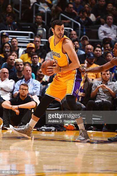 Larry Nance Jr #7 of the Los Angeles Lakers handles the ball against the Portland Trail Blazers during a preseason game on October 11 2016 at STAPLES...