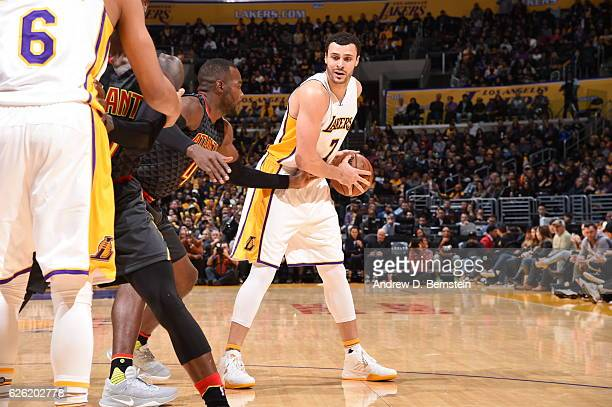 Larry Nance Jr #7 of the Los Angeles Lakers handles the ball against the Atlanta Hawks on November 27 2016 at STAPLES Center in Los Angeles...
