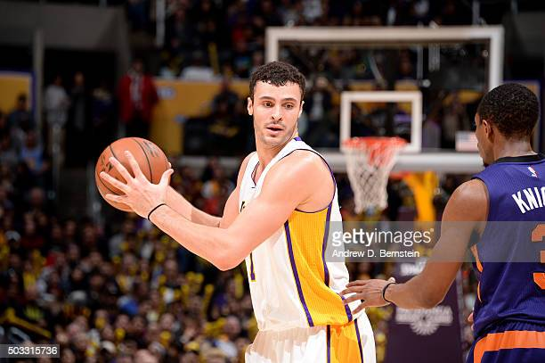 Larry Nance Jr #7 of the Los Angeles Lakers handles the ball during the game against the Phoenix Suns on January 3 2016 at STAPLES Center in Los...