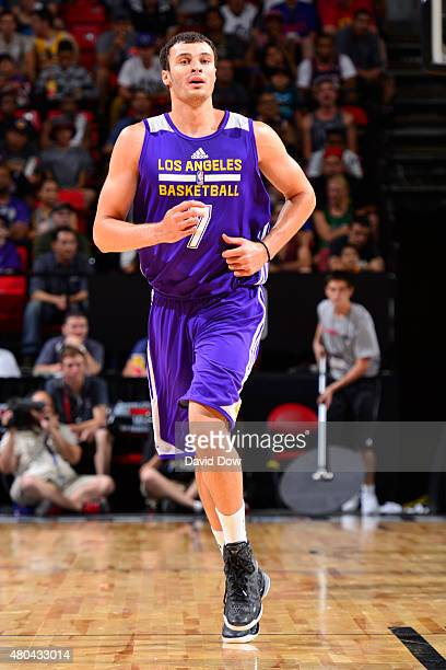 Larry Nance Jr #7 of the Los Angeles Lakers hustles up court against the Philadelphia 76ers on July 11 2015 at the Cox Pavilion in Las Vegas Nevada...