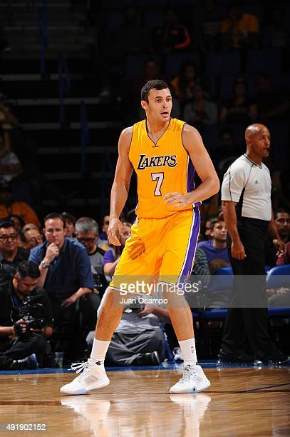 Larry Nance Jr #7 of the Los Angeles Lakers looks on against the Toronto Raptors during a preseason game on October 8 2015 at Citizens Business Bank...