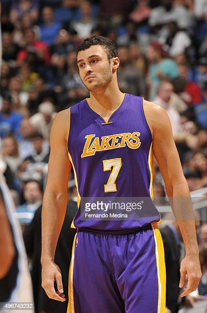 Larry Nance Jr #7 of the Los Angeles Lakers looks on during the game against the Orlando Magic on November 11 2015 at Amway Center in Orlando Florida...