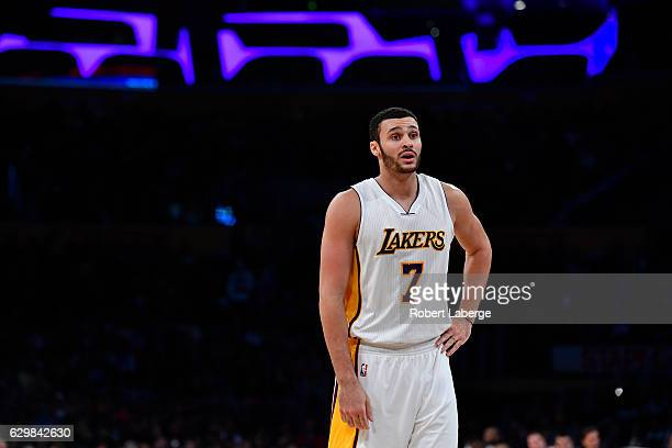 Larry Nance Jr #7 of the Los Angeles Lakers plays against the New York Knicks on December 11 2016 at STAPLES Center in Los Angeles California NOTE TO...