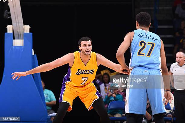 Larry Nance Jr #7 of the Los Angeles Lakers plays defense against the Denver Nuggets during a preseason game on October 9 2016 at Citizens Business...