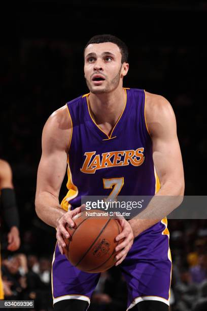 Larry Nance Jr #7 of the Los Angeles Lakers shoots a free throw during a game against the New York Knicks on February 6 2017 at Madison Square Garden...