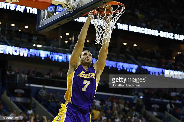 Larry Nance Jr #7 of the Los Angeles Lakers shoots during a game against the New Orleans Pelicans at the Smoothie King Center on November 12 2016 in...