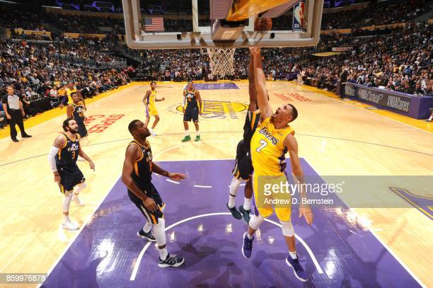 Larry Nance Jr #7 of the Los Angeles Lakers shoots the ball against the Utah Jazz during a preseason game on October 10 2017 at STAPLES Center in Los...