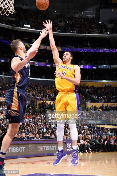 Larry Nance Jr #7 of the Los Angeles Lakers shoots the ball during the game against the New Orleans Pelicans on April 11 2017 at STAPLES Center in...