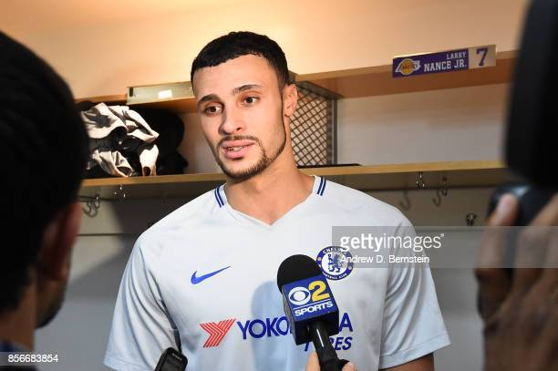 Larry Nance Jr #7 of the Los Angeles Lakers talks with the media after the game against the Minnesota Timberwolves during the preseason game on...