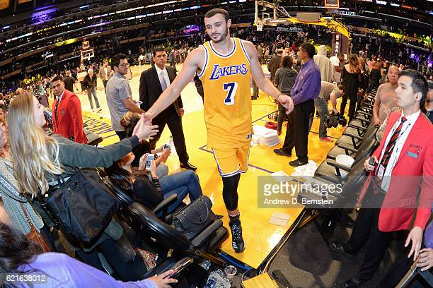 Larry Nance Jr #7 of the Los Angeles Lakers walks off the court after the game against the Golden State Warriors on November 4 2016 at STAPLES Center...