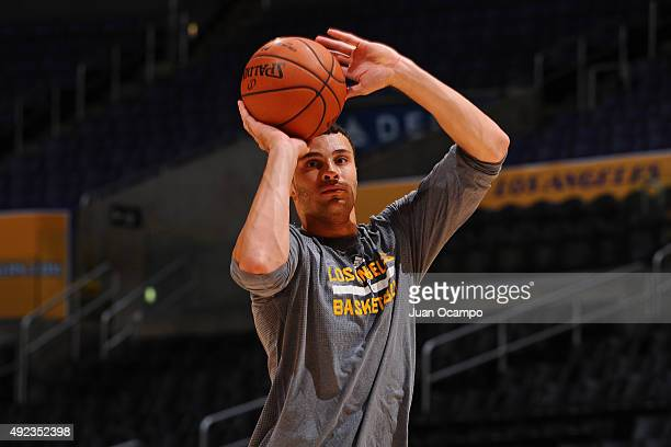 Larry Nance Jr #7 of the Los Angeles Lakers warms up before the preseason game against Maccabi Haifa on October 11 2015 at STAPLES CENTER in Los...