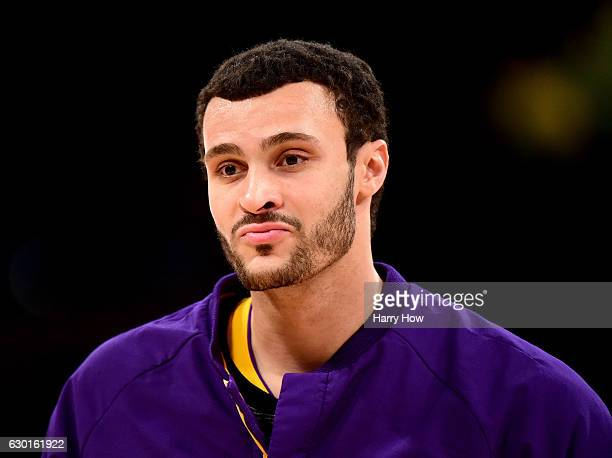 Larry Nance Jr #7 of the Los Angeles Lakers warms up before the game against the Utah Jazz at Staples Center on December 5 2016 in Los Angeles...