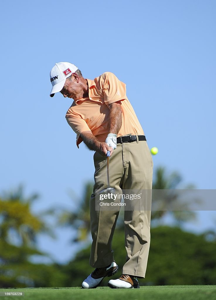 <a gi-track='captionPersonalityLinkClicked' href=/galleries/search?phrase=Larry+Nelson&family=editorial&specificpeople=221308 ng-click='$event.stopPropagation()'>Larry Nelson</a> plays from the second tee during the first round of the Mitsubishi Electric Championship at Hualalai Golf Club on January 18, 2013 in Ka'upulehu-Kona, Hawaii.