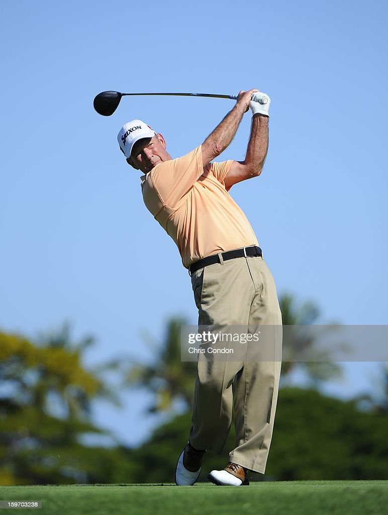 Larry Nelson plays from the second tee during the first round of the Mitsubishi Electric Championship at Hualalai Golf Club on January 18, 2013 in Ka'upulehu-Kona, Hawaii.