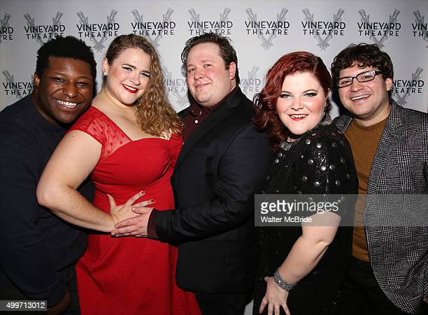 Larry Owens Bonnie Milligan Max Wilcox Ryann Redmond and Jared Loftin attend the Opening Night After Party for the Vineyard Theatre production of...