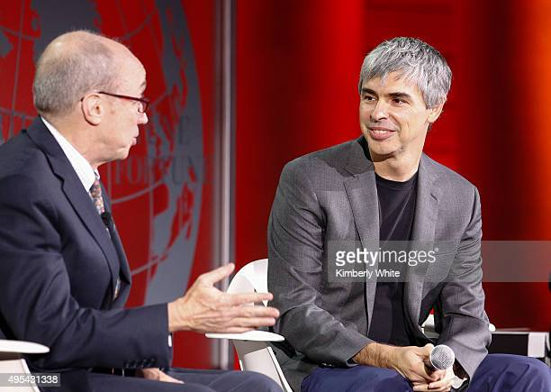 Larry Page and Alan Murray speak during the Fortune Global Forum at the Legion Of Honor on November 2 2015 in San Francisco California
