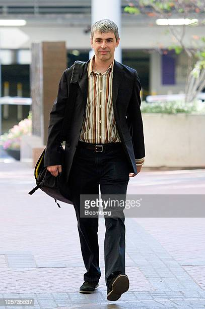 Larry Page chief executive officer of Google Inc arrives at court in San Jose California US on Wednesday Sept 21 2011 Google Inc and Oracle Corp...