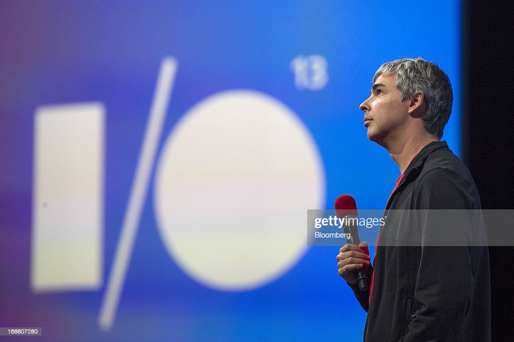 Larry Page, co-founder and chief executive officer at Google Inc., pauses while speaking at the Google I/O Annual Developers Conference in San Francisco, California, U.S., on Wednesday, May 15, 2013. Page disclosed a health condition that can result in hoarse speech and labored breathing, though according to doctors won't impede him from running the Web-search provider. Photographer: David Paul Morris/Bloomberg via Getty Images