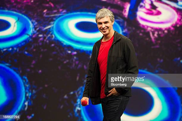 Larry Page cofounder and chief executive officer at Google Inc smiles while speaking at the Google I/O Annual Developers Conference in San Francisco...