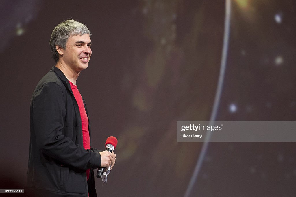 Larry Page, co-founder and chief executive officer at Google Inc., smiles during the Google I/O Annual Developers Conference in San Francisco, California, U.S., on Wednesday, May 15, 2013. Page disclosed a health condition that can result in hoarse speech and labored breathing, though according to doctors won't impede him from running the Web-search provider. Photographer: David Paul Morris/Bloomberg via Getty Images