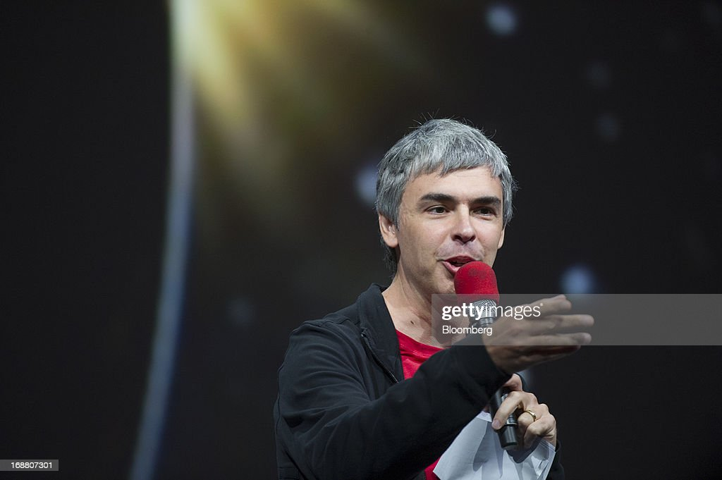 Larry Page, co-founder and chief executive officer at Google Inc., speaks during the Google I/O Annual Developers Conference in San Francisco, California, U.S., on Wednesday, May 15, 2013. Page disclosed a health condition that can result in hoarse speech and labored breathing, though according to doctors won't impede him from running the Web-search provider. Photographer: David Paul Morris/Bloomberg via Getty Images
