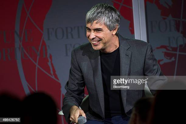 Larry Page cofounder of Google Inc and chief executive officer of Alphabet Inc reacts during the 2015 Fortune Global Forum in San Francisco...