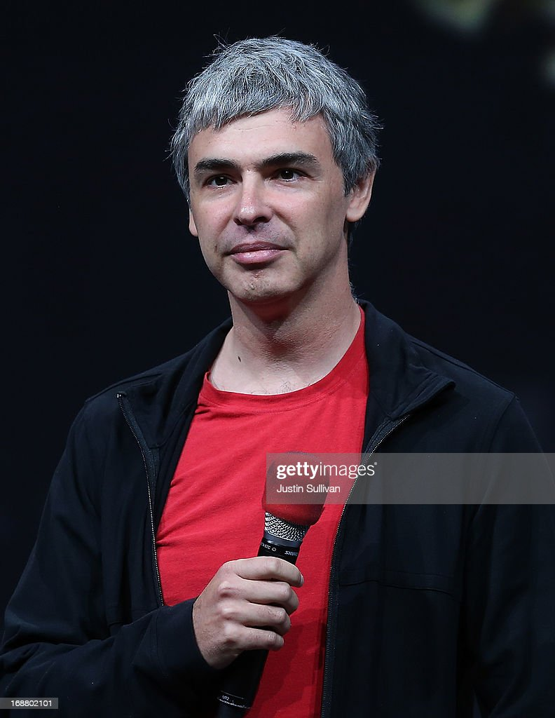 <a gi-track='captionPersonalityLinkClicked' href=/galleries/search?phrase=Larry+Page&family=editorial&specificpeople=753550 ng-click='$event.stopPropagation()'>Larry Page</a>, Google co-founder and CEO speaks during the opening keynote at the Google I/O developers conference at the Moscone Center on May 15, 2013 in San Francisco, California. Thousands are expected to attend the 2013 Google I/O developers conference that runs through May 17.