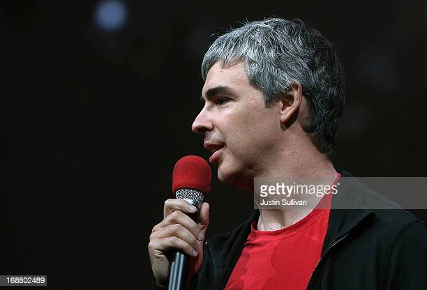 Larry Page Google cofounder and CEO speaks during the opening keynote at the Google I/O developers conference at the Moscone Center on May 15 2013 in...