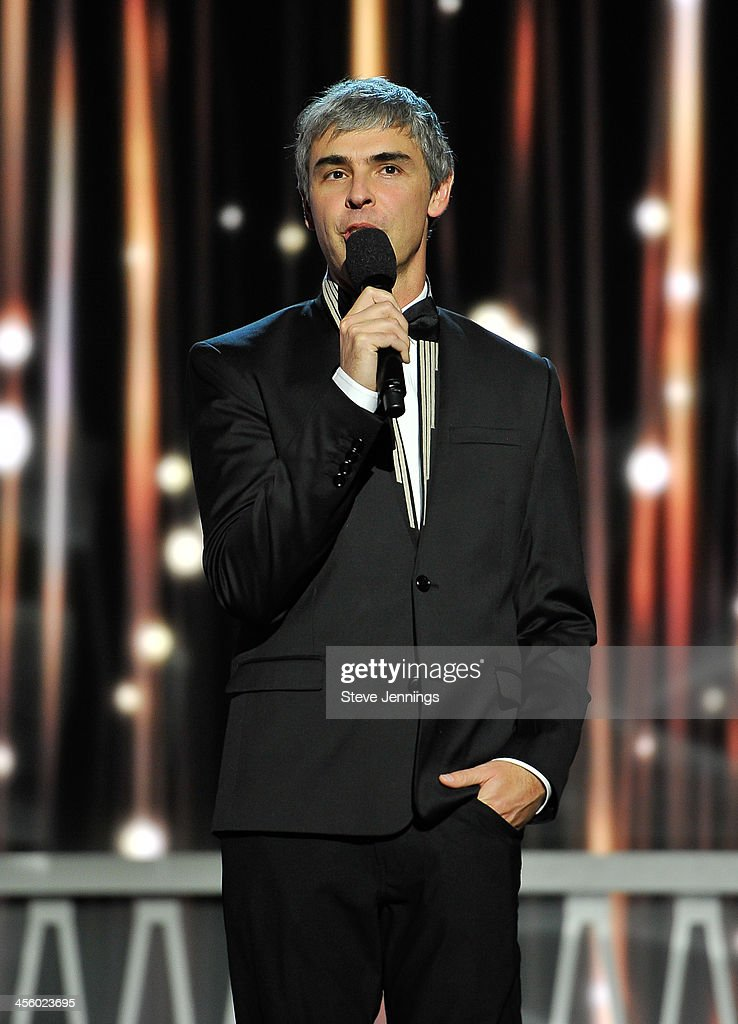 <a gi-track='captionPersonalityLinkClicked' href=/galleries/search?phrase=Larry+Page&family=editorial&specificpeople=753550 ng-click='$event.stopPropagation()'>Larry Page</a> is a presenter at the 2014 Breakthrough Prizes Awarded in Fundamental Physics and Life Sciences Ceremony at NASA Ames Research Center on December 12, 2013 in Mountain View, California.