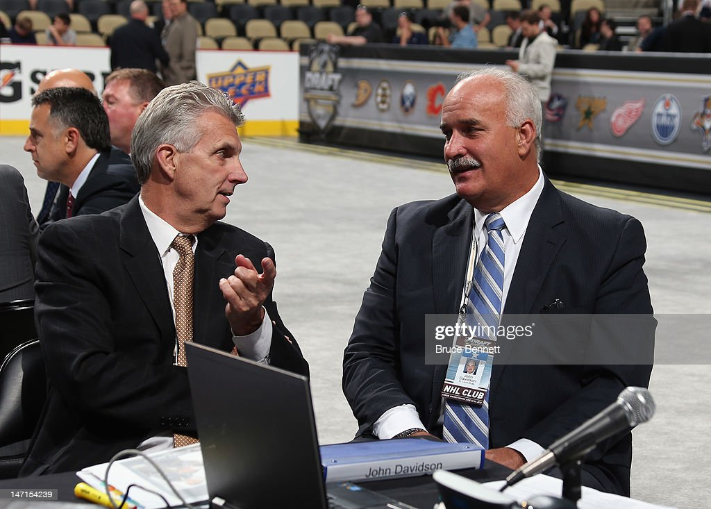 Larry Pleau and John Davidson of the St. Louis Blues attend day two of the 2012 NHL Entry Draft at Consol Energy Center on June 23, 2012 in Pittsburgh, Pennsylvania.