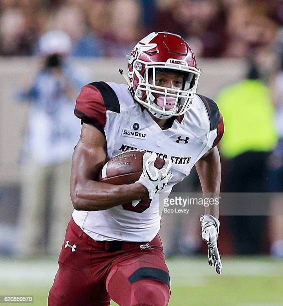 Larry Rose III of the New Mexico State Aggies runs with the ball against the Texas AM Aggies at Kyle Field on October 29 2016 in College Station Texas