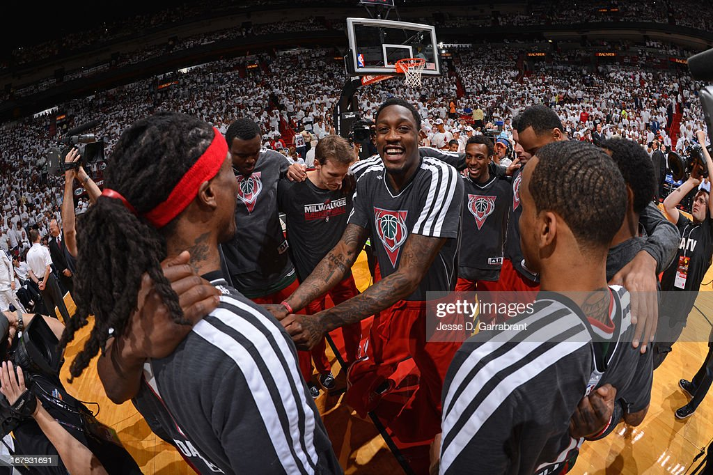 Larry Sanders #8 and the Milwaukee Bucks huddle up before the game against the Miami Heat in Game One of the Eastern Conference Quarterfinals during the 2013 NBA Playoffs on April 21, 2013 at AmericanAirlines Arena in Miami, Florida.