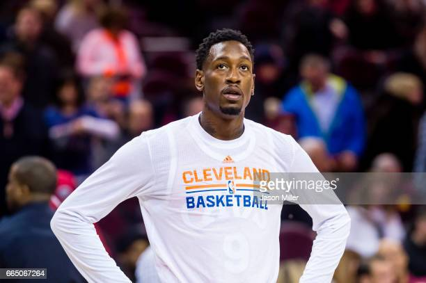 Larry Sanders Cleveland Cavaliers warms up on the court against the Detroit Pistons at Quicken Loans Arena on March 14 2017 in Cleveland Ohio The...