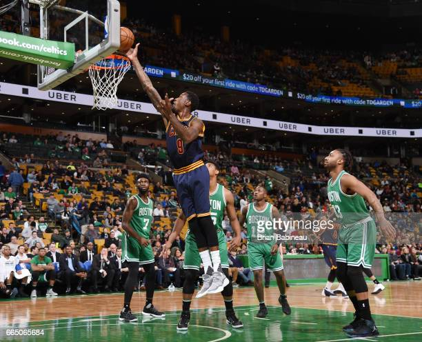 Larry Sanders of the Cleveland Cavaliers dunks against the Boston Celtics during the game on April 5 2017 at the TD Garden in Boston Massachusetts...