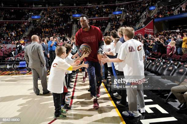 Larry Sanders of the Cleveland Cavaliers gets introduced before the game against the Utah Jazz on March 16 2017 at Quicken Loans Arena in Cleveland...