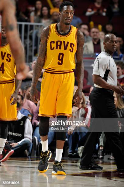 Larry Sanders of the Cleveland Cavaliers looks on during a game against the Washington Wizards on March 25 2017 at Quicken Loans Arena in Cleveland...