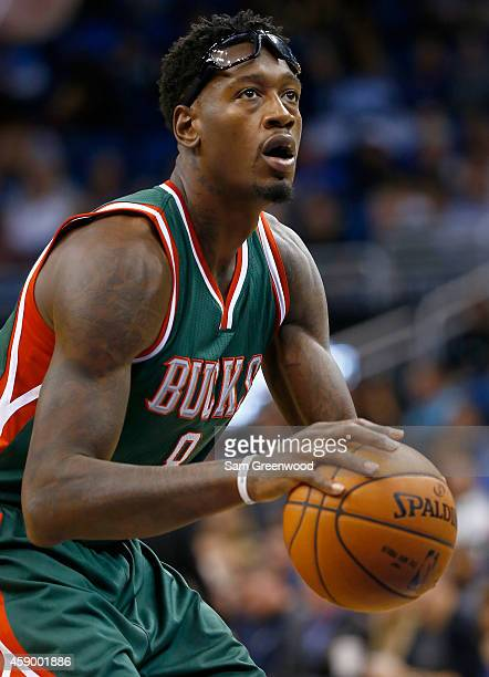 Larry Sanders of the Milwaukee Bucks attempts a free throw during the game against the Orlando Magic at Amway Center on November 14 2014 in Orlando...