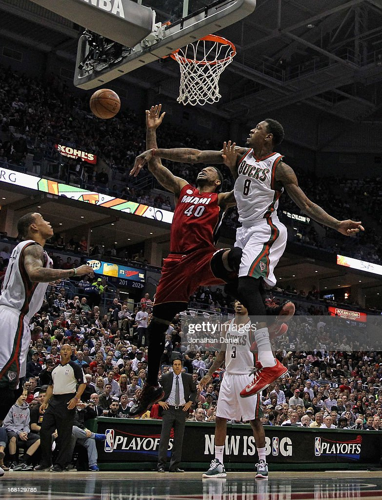 Larry Sanders #8 of the Milwaukee Bucks blocks a shot by Udonis Haslem #40 of the Miami Heat in Game Four of the Eastern Conference Quarterfinals during the 2013 NBA Playoffs at the Bradley Center on April 28, 2013 in Milwaukee, Wisconsin. The Heat defeated the Bucks 88-77.