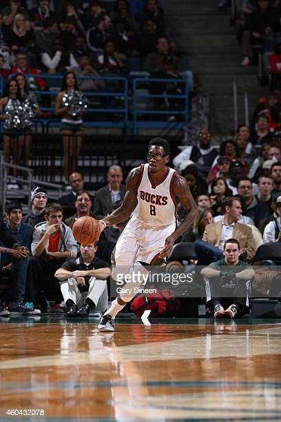 Larry Sanders of the Milwaukee Bucks brings the ball up court against the Los Angeles Clippers on December 13 2014 at the BMO Harris Bradley Center...
