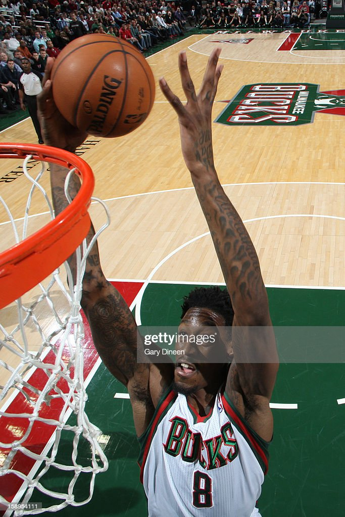 Larry Sanders #8 of the Milwaukee Bucks drives to the basket against the Miami Heat on December 29, 2012 at the BMO Harris Bradley Center in Milwaukee, Wisconsin.